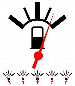 Fuel gas meter vector elements with red pointers poster
