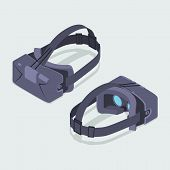 Set of the isometric virtual reality headsets. The objects are isolated against the white background and shown from two sides poster