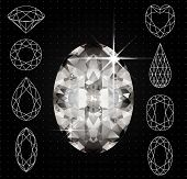 Vector illustration of Set of variously shaped diamonds and realistic gemstone, file Eps 10 poster