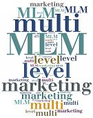 MLM. Multi level marketing. Advertising strategy. Word cloud illustration. poster