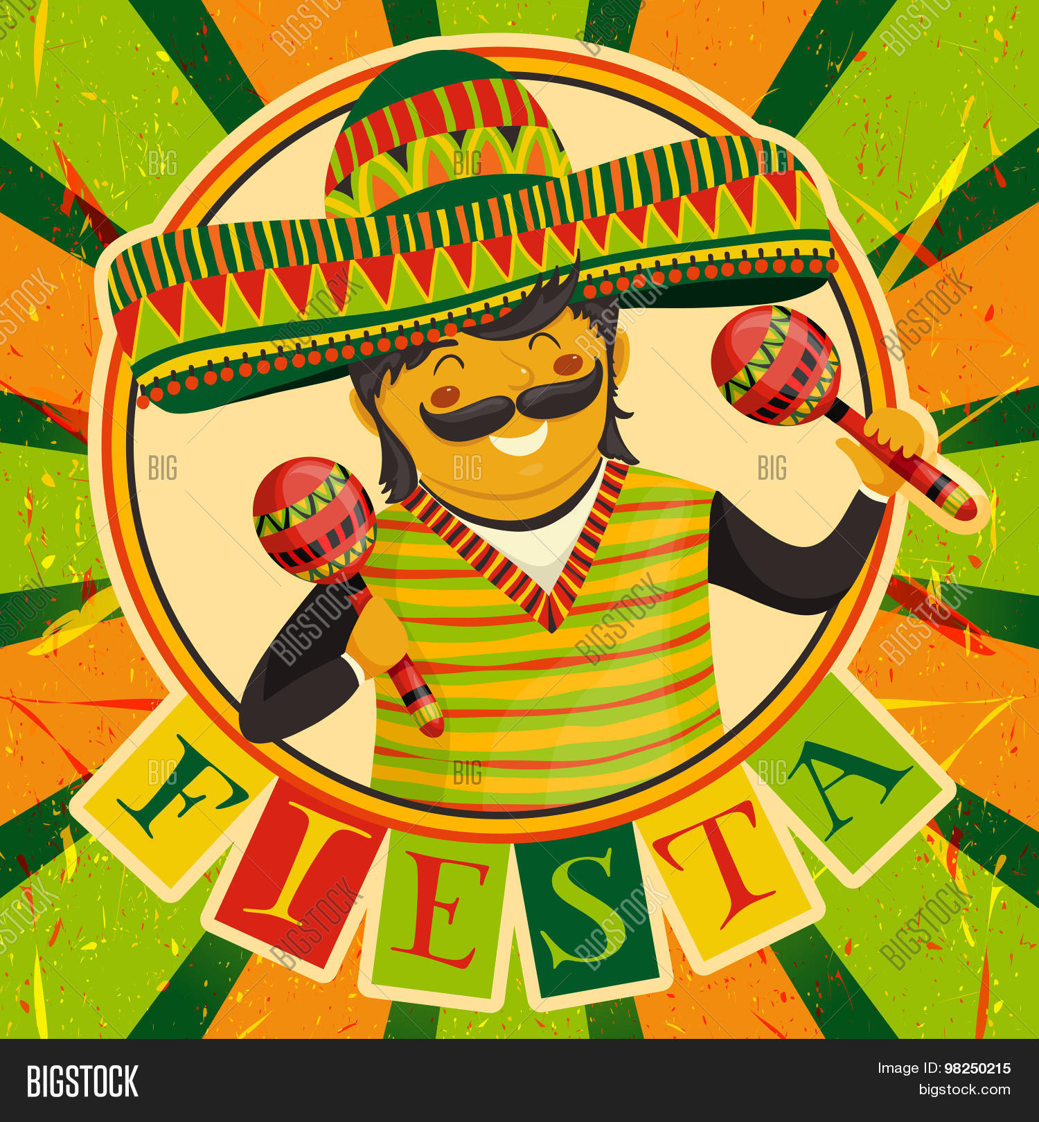 Mexican fiesta party invitation vector photo bigstock mexican fiesta party invitation with mexican man playing the maracas in a sombrero hand drawn stopboris Image collections