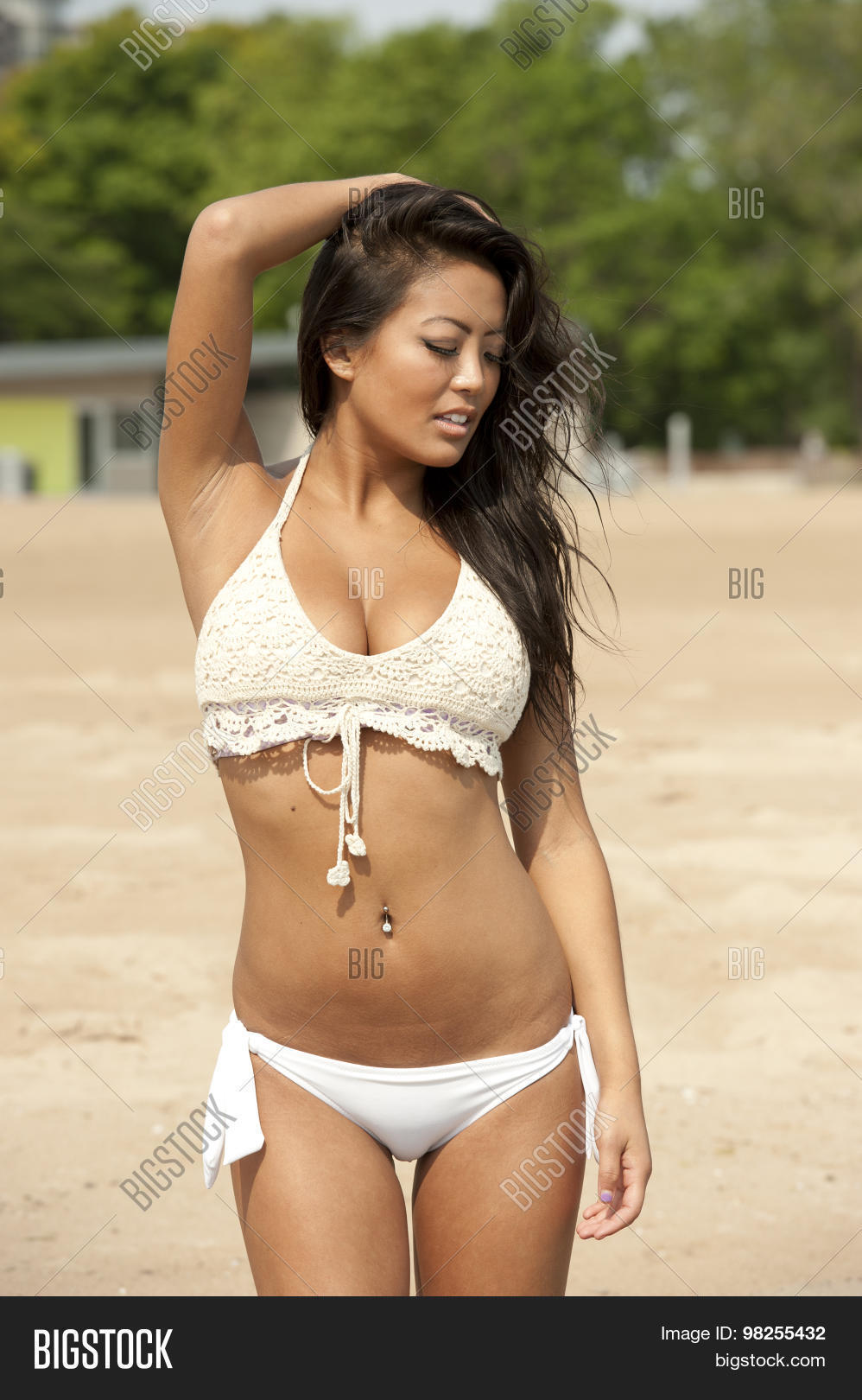 Remarkable asian girls at the beach think, that