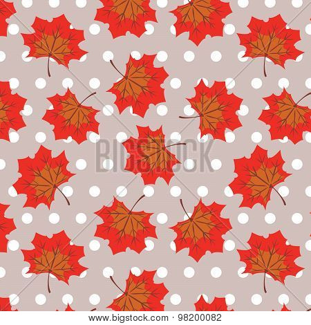 Maple leaves with polka dot