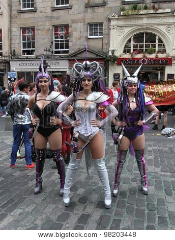 EDINBURGH - AUGUST 8: Members of Leven Productions publicize their show Saucy Jack and the Space Vixens during Edinburgh Fringe Festival on August 8, 2015 in Edinburgh, Scotland