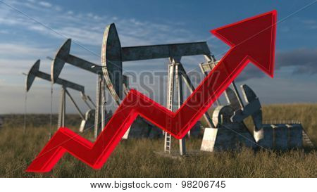 Oil wells - the price of oil rising up