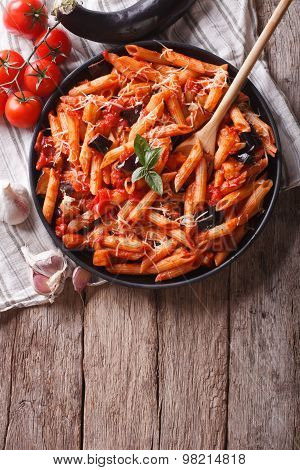 Italian Food: Pasta Alla Norma And Ingredients. Vertical Top View