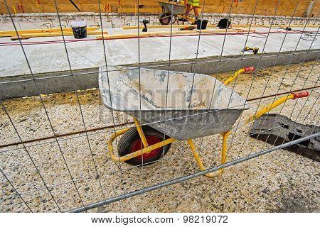 Empty Industrial Handcart On Construction Site