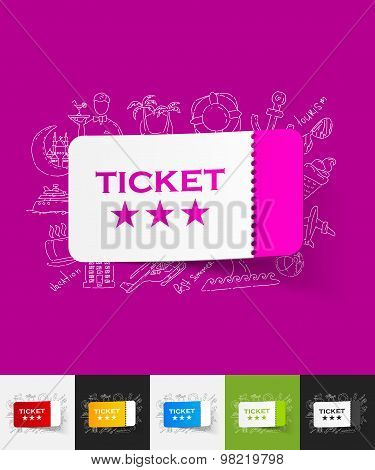 ticket paper sticker with hand drawn elements