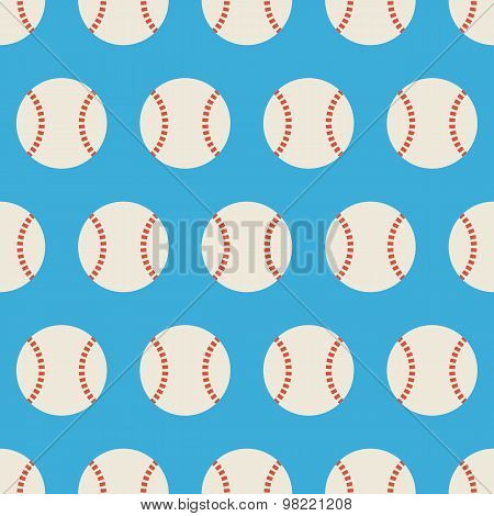 Flat Vector Seamless Sport And Recreation Baseball Pattern