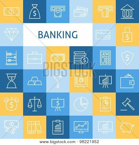 Vector Flat Line Art Modern Money Finance And Banking Business Icons Set