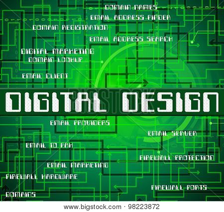 Digital Design Represents High Tec And Computing