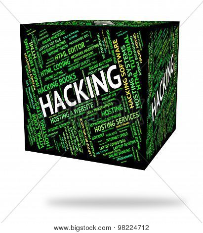 Hacking Word Means Security Theft And Hacked