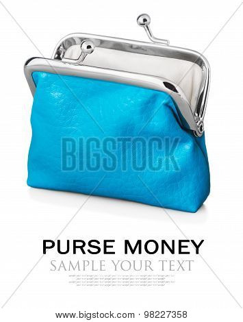 Purse isolated on white background. Focus is on the purse. Sample text and deleted poster