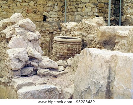 Archaeologist Excavating On Ancient Ruins Of Knossos Palace, Greece