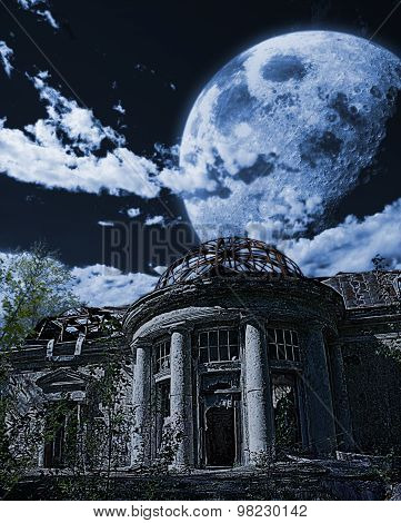 abandoned dilapidated ramshackle house under the night sky with huge moon