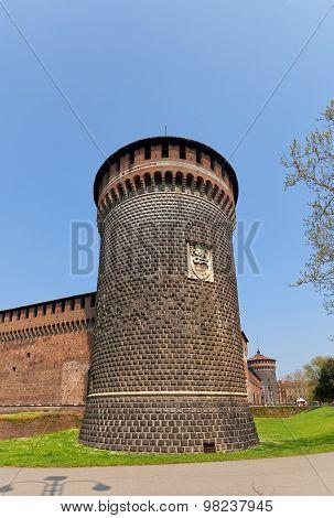 Saint Spirit Tower Of Sforza Castle (xv C.) In Milan, Italy