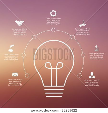 Vector light bulb with circles for infographic.