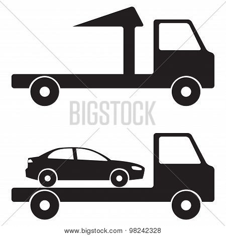 Tow truck wrecker icon or sign.
