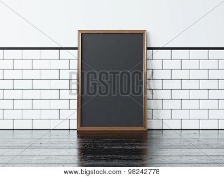 Black poster on the black floor. 3d rendering
