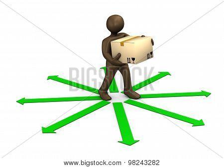 3D Illustration, Brown Figurine, Parcel Deliveryman And Green Arrows