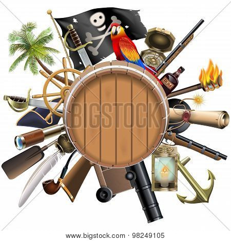 Vector Pirate Concept With Barrel