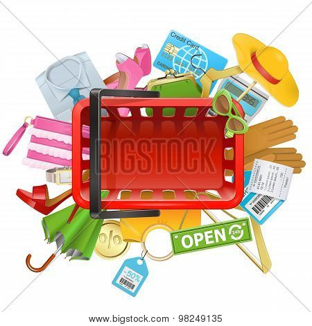Vector Shopping Concept With Basket