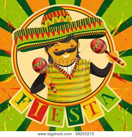 Mexican Fiesta Party Invitation with Mexican man playing the maracas in a sombrero. Hand drawn vecto