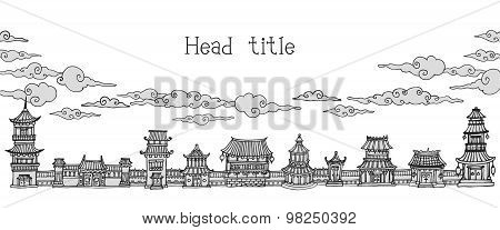 Banner With Asian Town