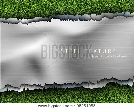 metall background with shadows and grass