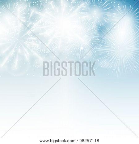 Vector Illustration of Fireworks, Salute on a Dark Background