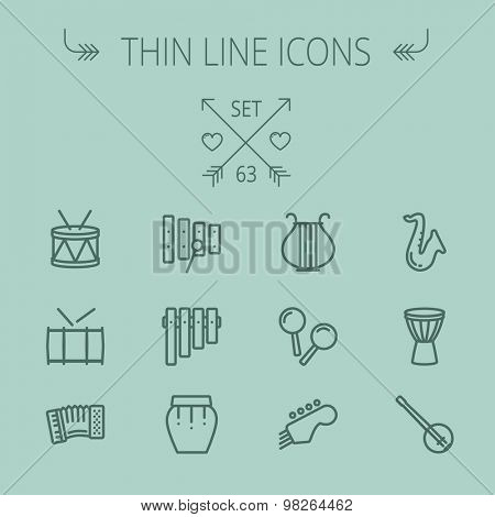 Music and entertainment thin line icon set for web and mobile. Set includes- xylophone, tuner, saxophone, banjo, maracas, organ, lyre icons. Modern minimalistic flat design. Vector dark grey icon on