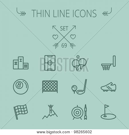 Sports thin line icon set for web and mobile. Set includes- pingpong, soccer shoes, archery, billiard ball, basketball ring, golf, gym icons. Modern minimalistic flat design. Vector dark grey icon on