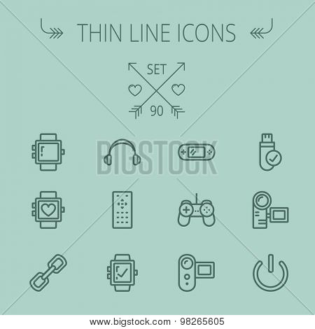 poster of Technology thin line icon set for web and mobile. Set includes -video game, joystick, digital cam, power button, remote control, digital watch, USB . Modern minimalistic flat design. Vector dark grey