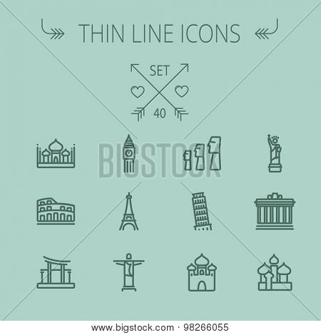 Travel thin line icon set for web and mobile. Set includes- mosque, statue, tower, clock, office building, famous gate, national library, muslim community, leaning tower pisa, icons. Modern