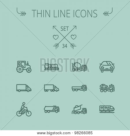 Transportation thin line icon set for web and mobile. Set includes- sports car, trucks, vans, bicycle, towing truck, mixer truck, train, vintage car icons. Modern minimalistic flat design. Vector dark