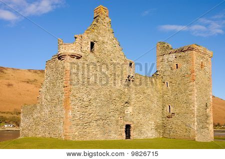 Ruins if Lochranza castle on the isle of Arran in Scotland poster