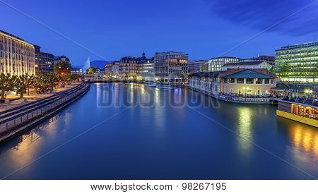Urban view with famous fountain and Rhone river, Geneva, Switzerland, HDR