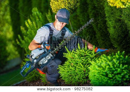 Trimming Works in a Garden. Professional Gardener with His Pro Garden Equipment During His Work. Gasoline Plants Trimmer Equipment. poster