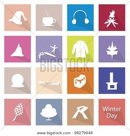 Illustration Set of 16 Winter Flat Icon