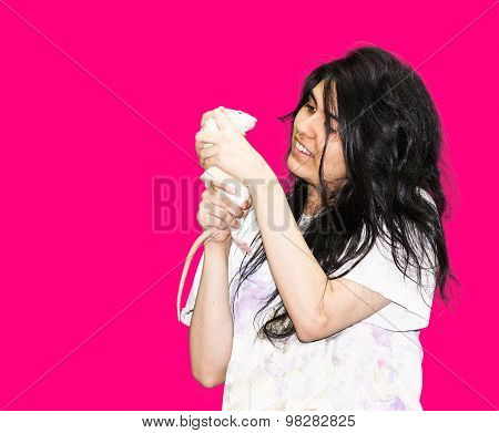 Latina Teen With Rat