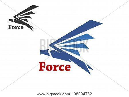 Abstract force symbol with blue silhouette of falcon bird isolated on white background poster