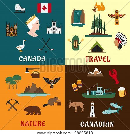 Canadian travel and nature flat icons