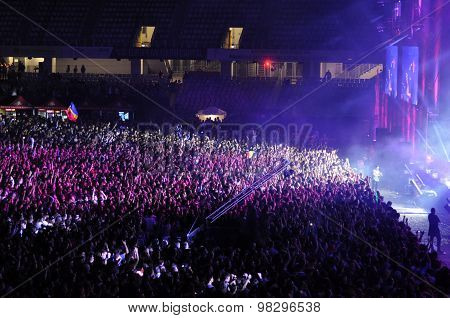 CLUJ NAPOCA ROMANIA – JULY 31 2015: Crowd of cheerful young people having fun during a Subcarpati live concert at Untold Festival poster