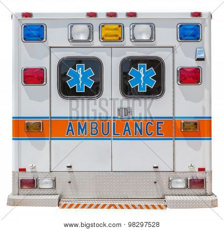Back Side Of An Ambulance Car For Emergency Rescue.