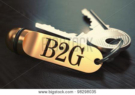 B2G Concept. Keys with Golden Keyring.