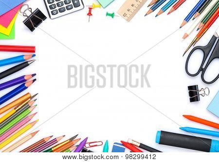 School and office supplies. Top view. Isolated on white background with copy space