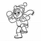A vector illustration of a cartoon kid in a winter setting throwing a snowball poster