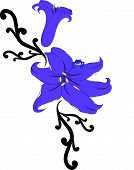 This is a drawing of a Blue Tree Frog sitting on a Lily. poster