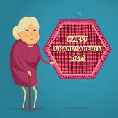 Happy grandmother. Happy grandparents day poster. Vector illustration in cartoon style poster