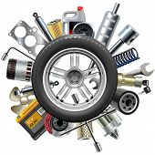 Car spares concept with car wheel and different auto parts, isolated on white background poster